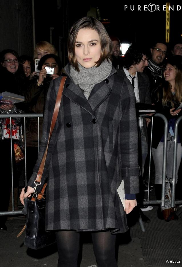 le manteau à carreaux de Keira Knightley