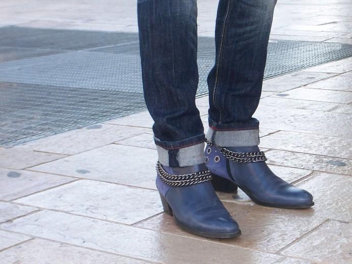Boots bleus à chaines