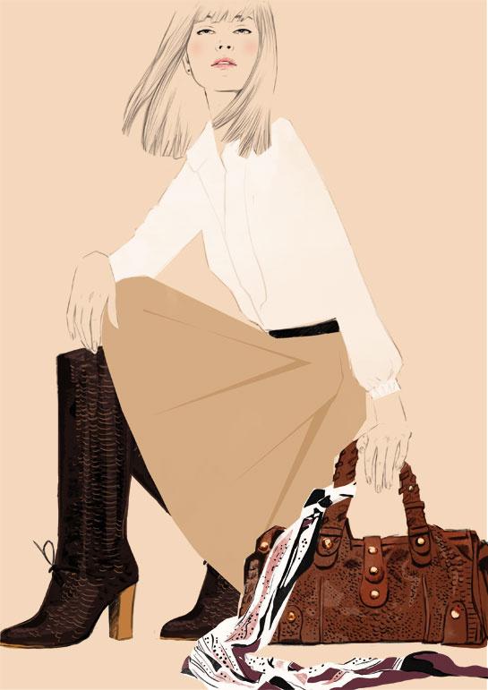 Les bottes, le sac et le foulard imprimé cachemire.
