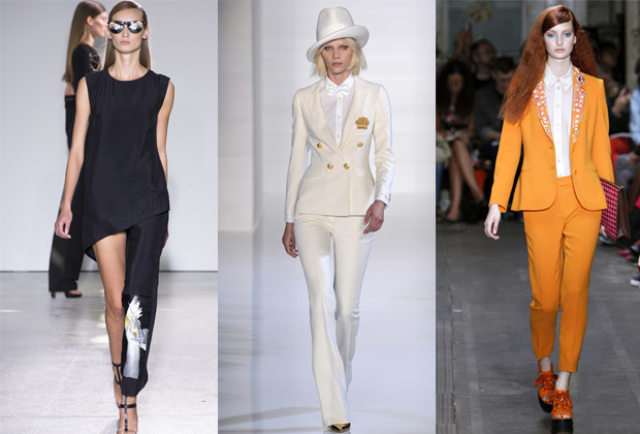 Trois tendances smoking par Costume National, Valentin Yudashkin, Moschino cheap and chic.