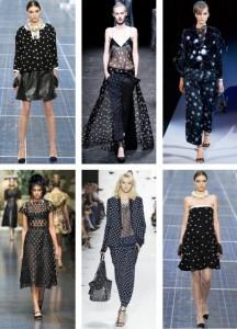 La tendance pois chez Chanel,Haider Ackermann, Giogio Armani, Dolce Gabbana, Diane Furstenberg.